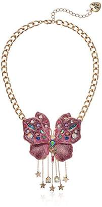 Betsey Johnson Womens Blooming Betsey Glitter Butterfly Pendant Necklace