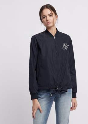 Emporio Armani Blouson With Embroidered Logo On The Front And Sequin Waves On The Back