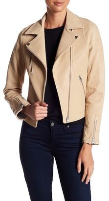 Doma Lou Genuine Leather Bonded Moto Jacket $926 thestylecure.com