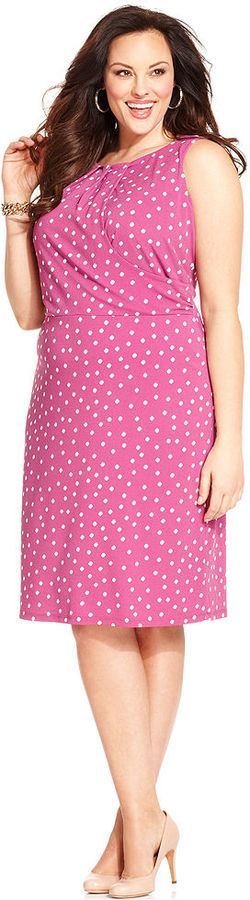 Charter Club Plus Size Dress, Sleeveless Polka-Dot A-Line