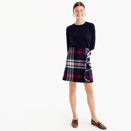 Plaid ruffle mini skirt in double-serge wool