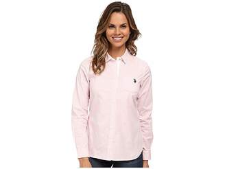 U.S. Polo Assn. Long Sleeve Vertical Stripe Shirt Women's Clothing
