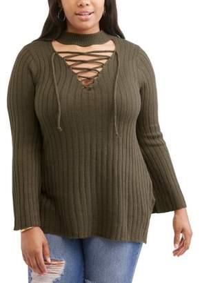 No Comment Junior Plus Side Slit Lace Up Tunic Sweater