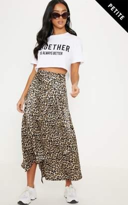 PrettyLittleThing Petite Brown Leopard Print Satin Button Waist Midi Skirt