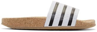 adidas Originals White Adilette Cork Slide Sandals $100 thestylecure.com
