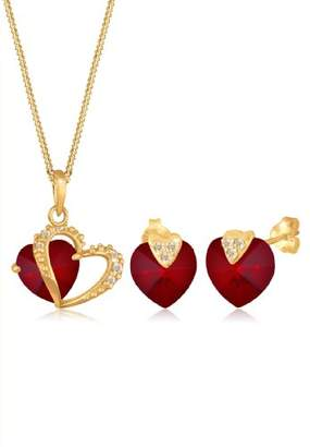 Goldhimmel Women's 925 Sterling Silver Gold Plated Xilion Cut Red Swarovski Crystals Heart Pendant Necklace of Length 45 cm with Stud Earrings