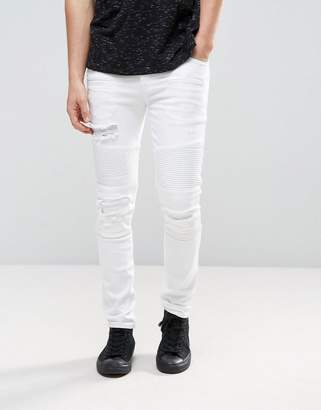 Asos Super Skinny Jeans In White Biker Style With Abrasions