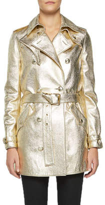 Saint Laurent Metallic Leather Trench Coat