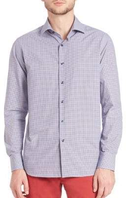 Saks Fifth Avenue Abstract Plaid Button-Up