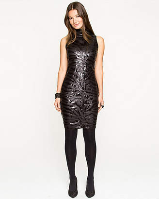 Le Château Sequin Mock-neck Mini Dress