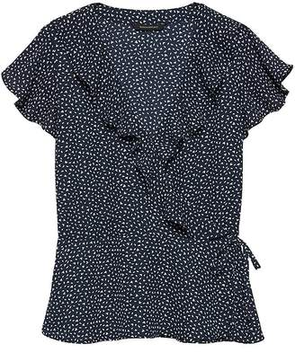 Banana Republic Petite Leaf Print Ruffle-Wrap Top