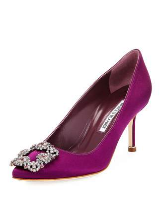 Manolo Blahnik Hangisi 70mm Satin Embellished Pump, Bright Purple $789 thestylecure.com