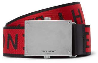 Givenchy 3.5cm Red Leather-Trimmed Logo-Jacquard Webbing Belt