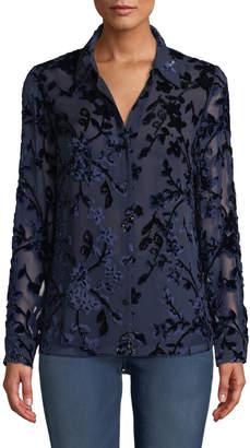 Elie Tahari Martha Long-Sleeve Button-Front Floral Devore Velvet Blouse