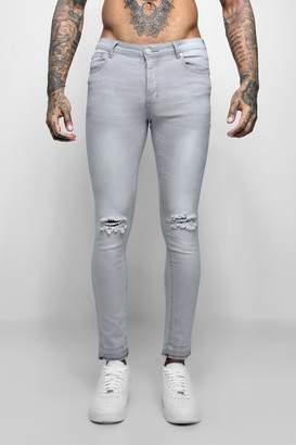 boohoo Super Skinny Raw Edge Distressed Jeans