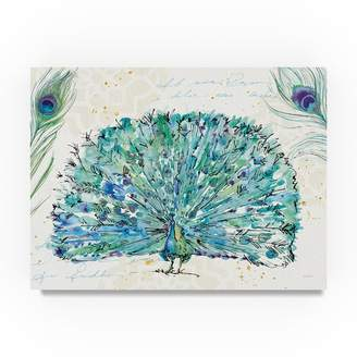 Trademark Art 'Peacock Garden IX Purple' Watercolor Painting Print on Wrapped Canvas
