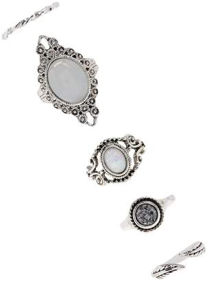 Forever 21 Etched Faux Stone Ring Set
