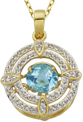 FINE JEWELRY 18K Gold Over Silver Genuine Blue Topaz and Lab-Created White Sapphire Pendant Necklace