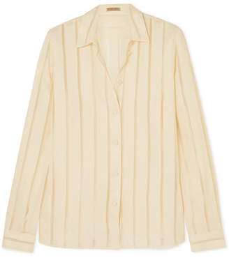 Bottega Veneta Striped Silk-blend Chiffon Blouse - Ivory