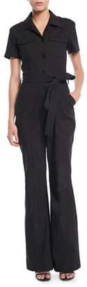 A.L.C. Rivington Short-Sleeve Button-Front Belted Flared-Leg Jumpsuit