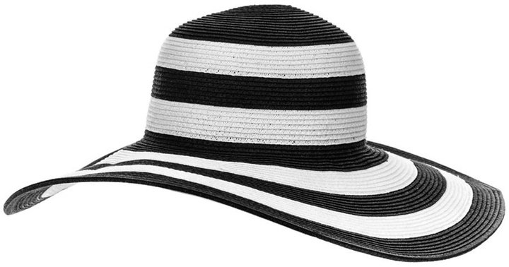 Black and White Striped Wide Brimmed Sun Hat