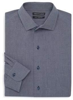 Saks Fifth Avenue Slim Fit Denim Dobby Dot Dress Shirt