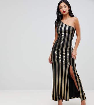 John Zack Petite One Shoulder Contrast Stripe Maxi Dress