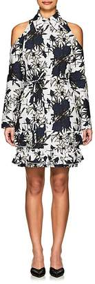 Nina Ricci WOMEN'S FLORAL COTTON CUTOUT-SHOULDER DRESS