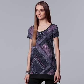 Vera Wang Women's Simply Vera Print Handkerchief-Hem Tee