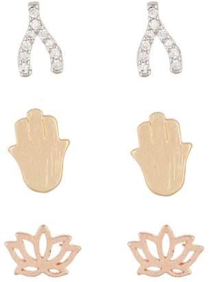 Loren Olivia Hamsa, Lotus, & Wishbone Stud Earrings Set