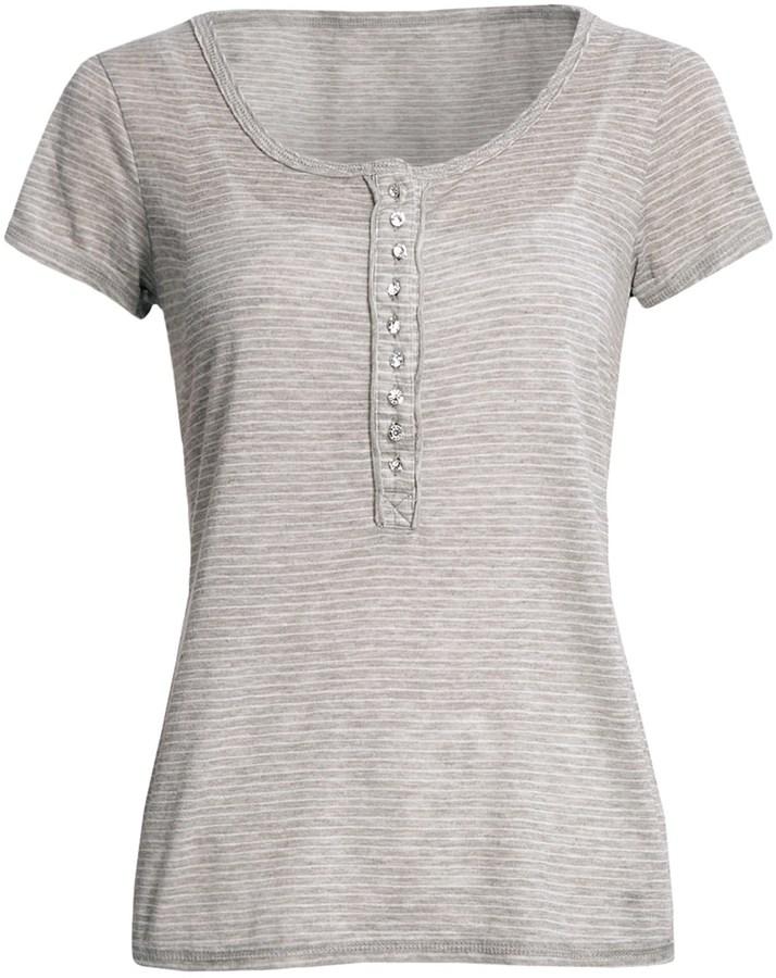 True Grit Microstripe T-Shirt - Crystal Buttons, Short Sleeve (For Women)