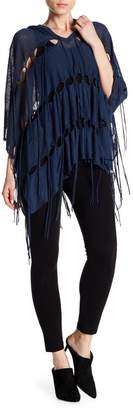 Haute Hippie Patriot Fringe Hooded Poncho