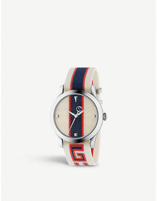 Gucci YA1264071 G-Timeless stainless steel and canvas watch