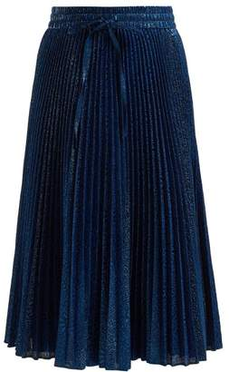 RED Valentino Pleated Floral Brocade Skirt - Womens - Blue