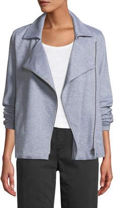 Eileen Fisher Herringbone Knit Cotton Zip Moto Jacket