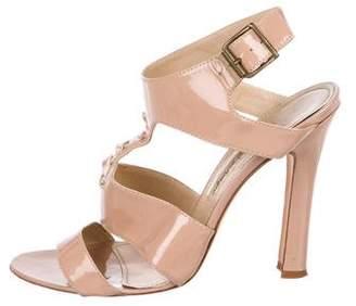 Manolo Blahnik Patent T-Strap Sandals