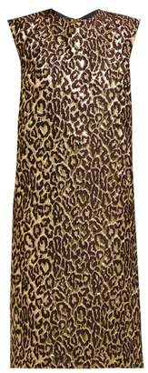 Rochas Onyx Metallic Jacquard Leopard Print Dress - Womens - Leopard