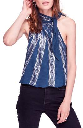 Free People Glitter City Tie Neck Tank