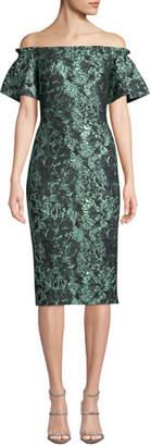 Theia Off-the-Shoulder Metallic Tissue Cloque Dress