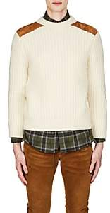 Saint Laurent Men's Suede-Patch Wool-Blend Sweater - Ivorybone