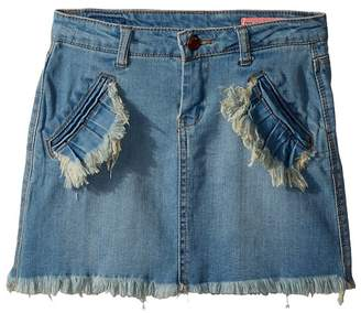 Blank NYC Kids Denim Mini Skirt with Ruffle Pocket Detail in Go All Out Girl's Skirt