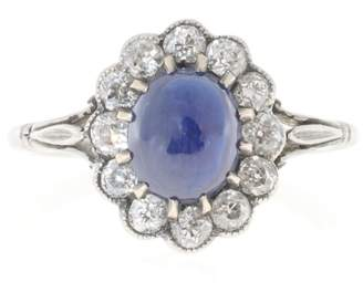 Vintage Platinum High Dome Natural Cornflower Cabochon Sapphire & Diamond Ring Size 7.75