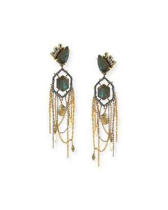 Alexis Bittar Labradorite & Crystal Chandelier Clip Earrings $395 thestylecure.com