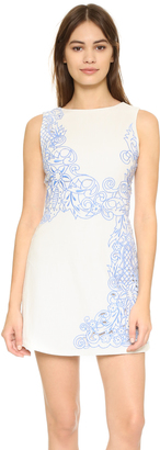 alice + olivia Malin Embroidered Boat Neck Dress $484 thestylecure.com