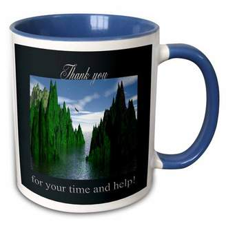 3dRose Thank you for your time and help, Bald Eagle Flying - Two Tone Blue Mug, 11-ounce