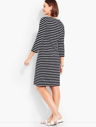 Talbots Embroidered-Neckline Stripe Shift Dress