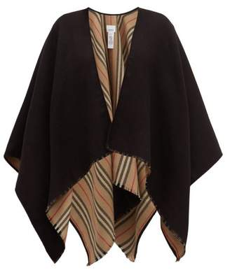 Burberry Heritage Icon Stripe Reverse Wool Poncho - Womens - Black