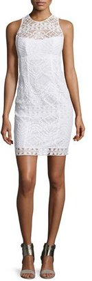 Nanette Lepore Sleeveless Lace Illusion Sheath Dress, White $428 thestylecure.com