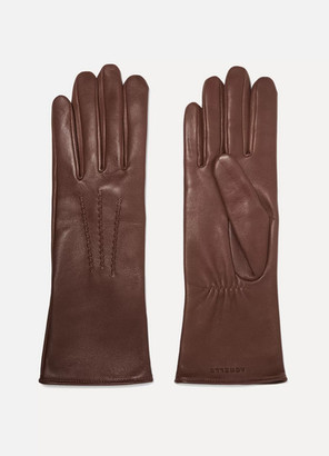 Agnelle Grace Leather Gloves - Brown