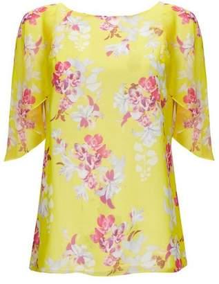 Wallis Yellow Ruffle Floral Print Blouse